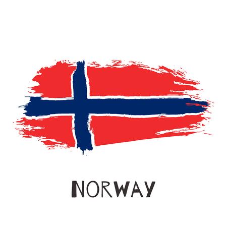 Norwegen Vektor Aquarell nationale Landesflagge Symbol. Handgezeichnete Illustration mit trockenen Pinselflecken, Strichen, Flecken auf weißem Hintergrund. Gemalte Grunge-Stil-Textur für Poster, Banner-Design