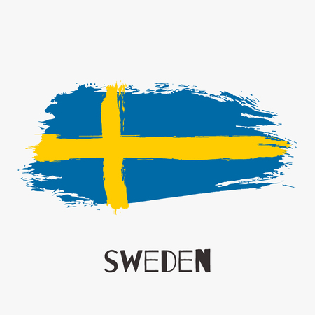 Sweden vector watercolor national country flag icon. Hand drawn illustration with dry brush stains, strokes, spots isolated on gray background. Painted grunge style texture for posters, banner design.
