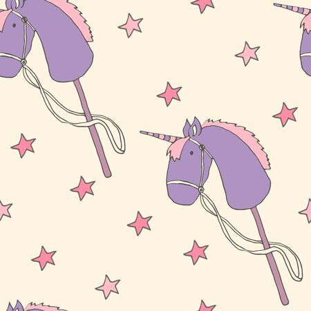 Baby seamless hand drawn pattern with cute magic unicorns and stars. Illustration for childrens, kids toy.