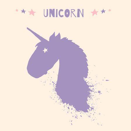Magic unicorn head  template with  splashes and stars isolated on beige background. Kids illustration for design prints, greeting cards, posters and birthday invitations.