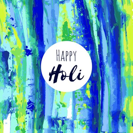 Happy Holi vector navy blue, green, yellow oil, watercolor texture background, dry brush stains, strokes, spots isolated. Abstract artistic frame, place for text. Acrylic hand painted gradient.  イラスト・ベクター素材
