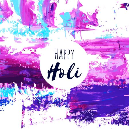 Happy Holi vector navy blue, purple, pink, violet, turquoise oil, watercolor texture background, dry brush stains, strokes, spots isolated. Abstract acrylic hand painted frame, place for text.