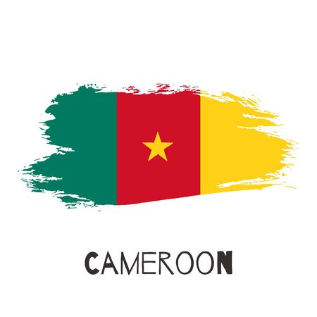 Cameroon vector watercolor national country flag icon. Hand drawn illustration with dry brush stains, strokes, spots isolated on gray background. Painted grunge style texture for poster, banner design