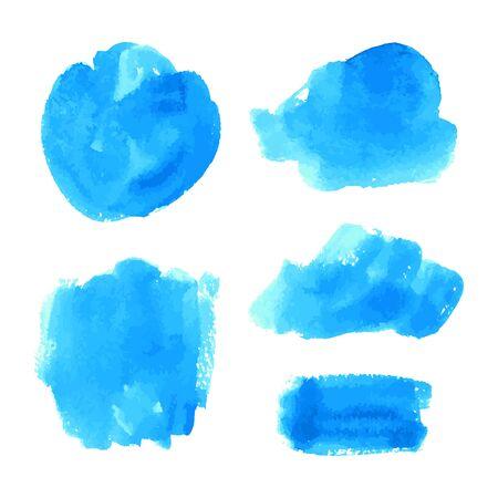 Zestaw wektor granatowy, turkusowy niebieski akwarela ręcznie malowane tekstury tła na białym tle. Abstrakcyjna kolekcja płynnego tuszu, wylewów akrylowych, suchych pociągnięć pędzlem, plam, plam, kleksów, elementów. Ilustracje wektorowe