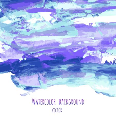 Violet, indigo, purple, turquoise, navy blue watercolor texture hand paint on white background. Ink dry brush strokes, stains, spots, splashes. Oil marble vector backdrop on canvas. Fluid art Illustration