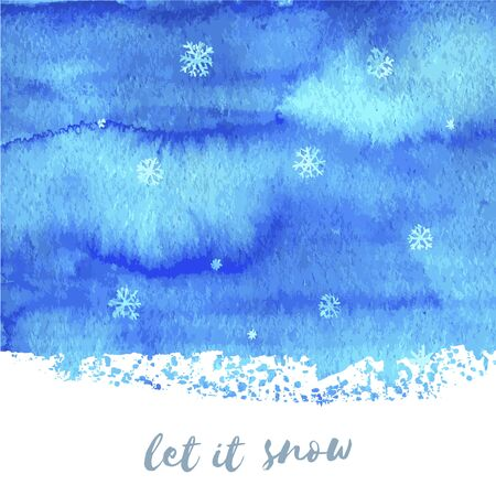 Let it snow. Hand paint blue watercolor texture with snowflakes isolated on white background. Ink dry brush stains, strokes, splash, smudge, spot. Merry Christmas and Happy New Year poster design.