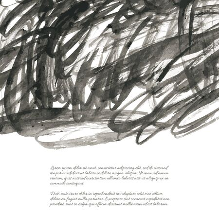 Dark gray vector ink watercolor hand painted texture background isolated on white. Abstract acrylic dry brush splash, strokes, stains, spots, blot, scribble, smudge. Black messy grunge drawn lines. Vecteurs