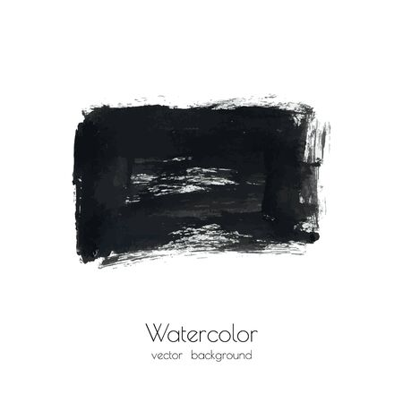 Dark gray vector ink watercolor hand painted texture background isolated on white. Abstract acrylic dry brush splash, strokes, stains, spots, blot, scribble, smudge. Black charcoal grunge drawing.
