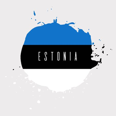 Estonia vector watercolor national country flag icon. Hand drawn illustration with dry brush stains, strokes, spots isolated on gray background. Painted grunge style texture for posters, banner design