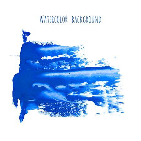 Marina, bleu marine classique, fond de texture aquarelle indigo, taches de pinceau sec, traits, taches isolées sur blanc. Cadre en marbre d'encre abstraite, place pour le logo. Acrylique peint à la main verse, art fluide.