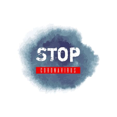 Stop coronavirus icon. Covid-19 ink watercolor texture background. Pandemic medical concept hand drawn vector illustration with brush strokes, splash, spot isolated on white background. No infection.
