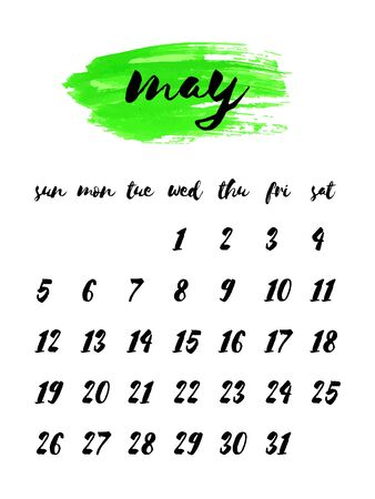 Hand written ink calendar template 2019 year, may. Watercolor painted header with brush strokes, stains, splash, lime green background. Week starts Sunday. Blank sheets paper, binder concept.