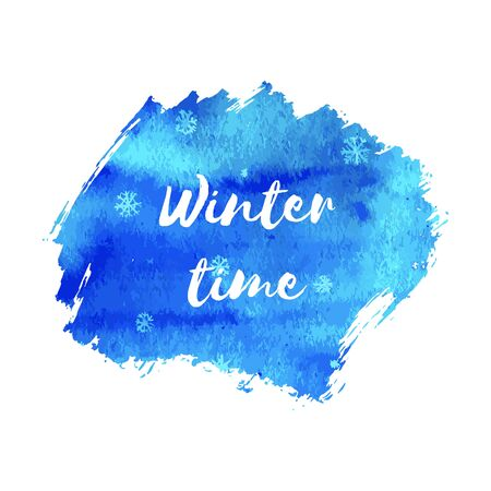 Winter time. Hand paint blue watercolor texture with snowflakes isolated on white background. Ink dry brush stains, strokes, splash, smudge. Merry Christmas and Happy New Year poster design. Stock Photo