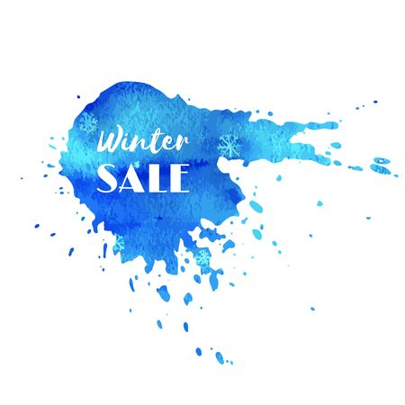 Winter sale. Hand paint blue watercolor texture with snowflakes isolated on white background. Ink logo with dry brush stains, strokes, splash, smudge on banner, badge, tag for shop, market, package.
