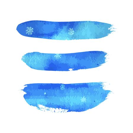 Hand paint blue watercolor winter texture with snowflakes isolated on white background. Ink dry brush stains, strokes, splash, smudge. Merry Christmas and Happy New Year poster design.