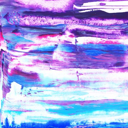 Violet, pink, purple, magenta, turquoise, navy blue, cyan texture hand paint on white background. Ink dry brush strokes, stains, spots, splashes. Oil marble backdrop on canvas. Fluid art.