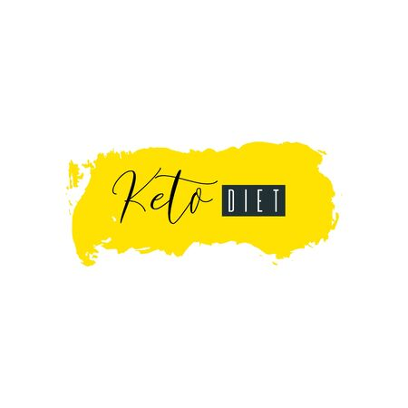 Keto diet. Lettering on hand paint yellow  texture isolated on white background. Ink dry brush stains, stroke, splash, smudge, scribble. Low carb high fat healthy food nutrition quote poster