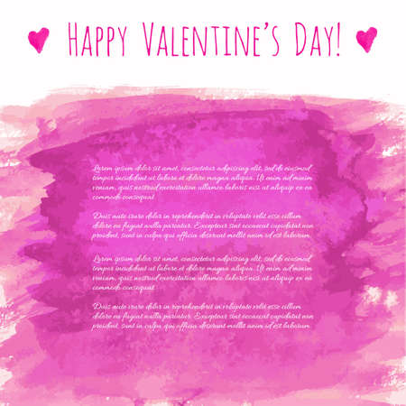 Happy Valentine's day! Pink magenta watercolor hand drawn vector texture frame backdrop with heart for greeting card design. Painted illustration romantic wallpaper, wedding background. Place for text
