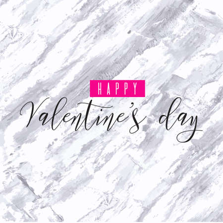 Happy Valentine's day! Pink magenta watercolor hand drawn vector texture frame marble backdrop for greeting card design. Painted illustration romantic wallpaper, wedding background. Place for text 向量圖像