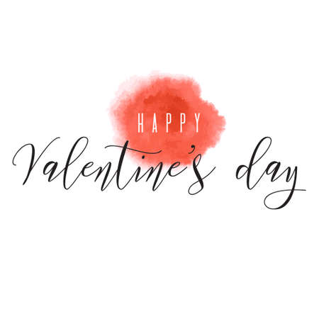 Happy Valentine's day! Red watercolor splash hand drawn vector texture frame backdrop for greeting card design, ink brush stroke, spot. Painted illustration romantic wallpaper, wedding background.
