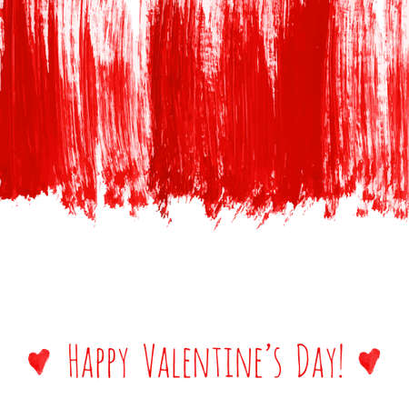 Happy Valentine's day! Red watercolor hand drawn vector texture frame backdrop with heart for greeting card design. Painted illustration romantic wallpaper, wedding background. Place for text .
