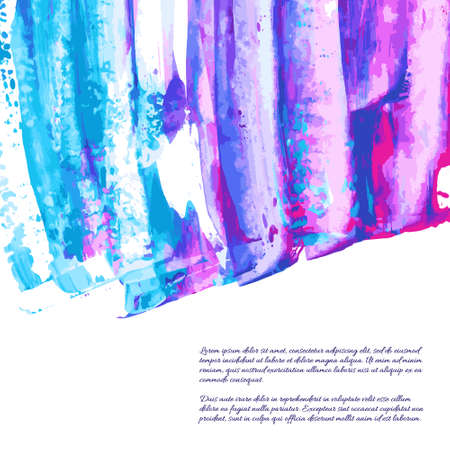 Violet, indigo, purple, turquoise, navy blue watercolor texture hand paint on white background. Ink dry brush strokes, stains, spots, splashes. Oil marble vector backdrop on canvas. Fluid acrylic art 向量圖像