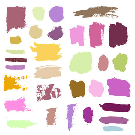 Grunge watercolor ink texture set of hand painted pastel powder color dry brush splashes, strokes, stains, spots, elements, stripes, lines, templates, dirty geometric shapes. Freehand drawn background Standard-Bild