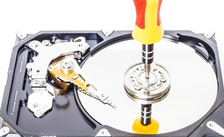 Hard disk isolated on a white background photo