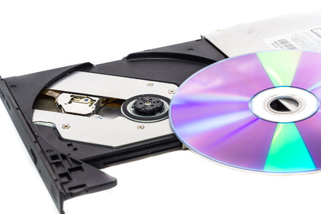 rom: open dvd rom on white background Stock Photo
