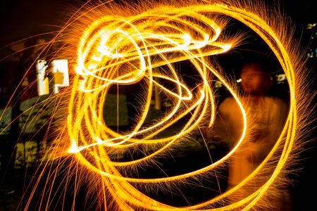 Paint lighting Fire spinning from steel wool Stock Photo - 23344983
