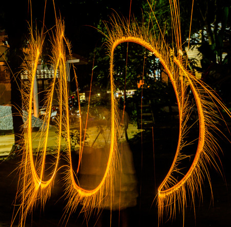 Paint lighting Fire spinning from steel wool Stock Photo - 23344984