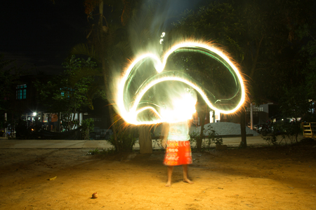 Paint lighting Fire spinning from steel wool Stock Photo - 23344986