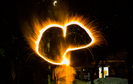 Paint lighting Fire spinning from steel wool Stock Photo - 23344987