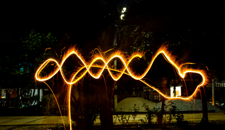 Paint lighting Fire spinning from steel wool Stock Photo - 23344988