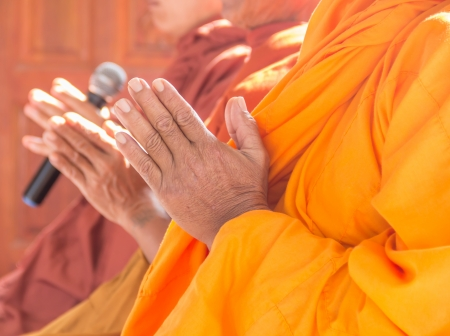 Put the palms of the hands together in salute , monks, thailand