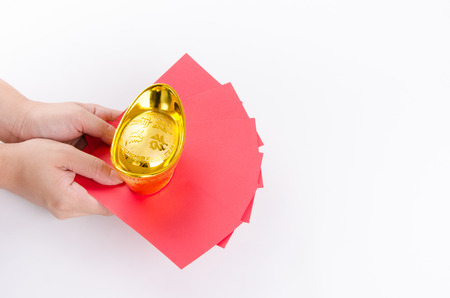 Chinese New Year Gift, Gold, Red packets Stock Photo