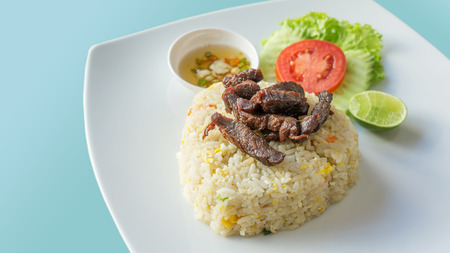 fried rice with Deep fried marinated beef photo