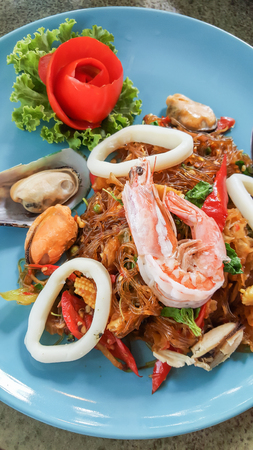 vermicelli: Fried Vermicelli with spicy seafood Stock Photo