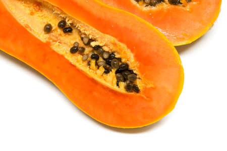 grope: papaya fruits on white background