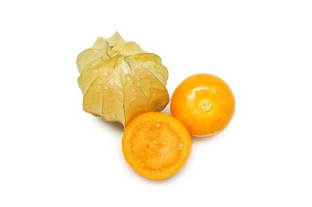 grosella: uchuva en el fondo blanco. Foto de archivo