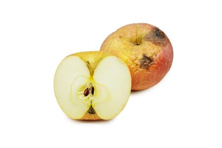 sear: sear skin apple on white background.