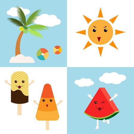 summer icons, sun, coconut tree, ice-cream, and watermelon.