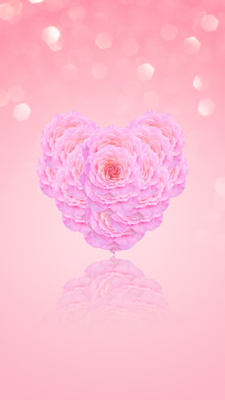 Heart shape from a pink rose.