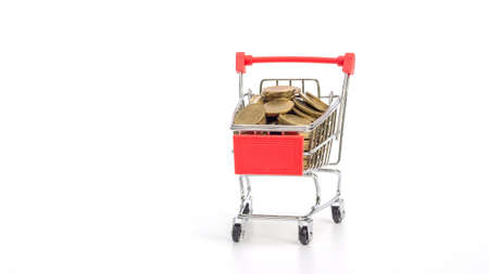 Golden coin in a shopping cart on a white background.