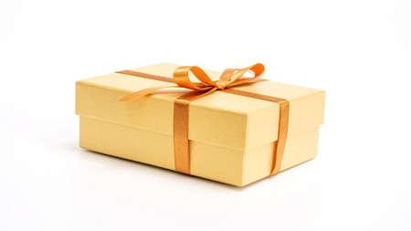 Gold gift box on a white background.