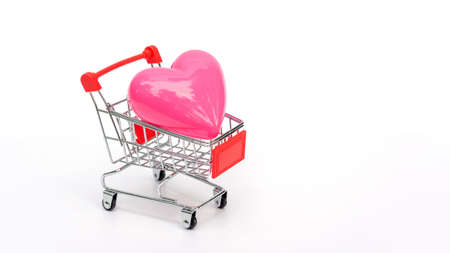 Pink heart in a shopping cart on a white background.