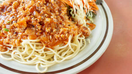 Close up of delicious spaghetti with bolognese and tomato sauce. 版權商用圖片