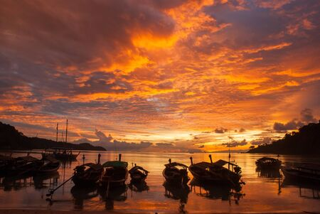 morn: Morning Fishing boat in Thailand Stock Photo