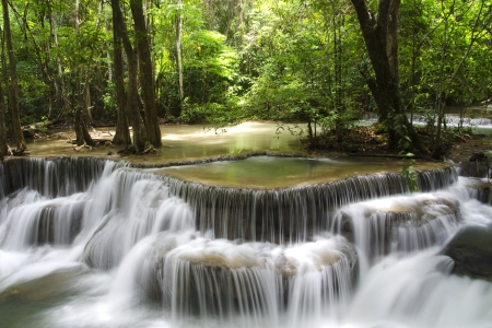water fall in deep forest photo