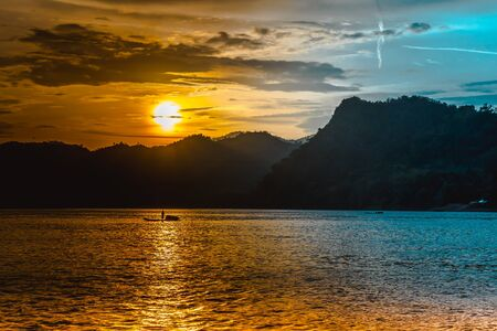 Sunset over the Mekong River in Laos